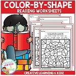 Color By Shape Worksheets: Reading ~Digital Download~